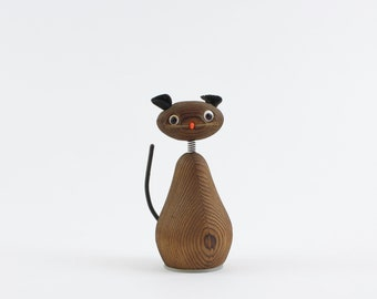 Jahrgang Cryptomeria Holz Katze Figur Bleistiftspitzer - Mid-Century geschnitzte hölzerne Katze Bobble Head Statue