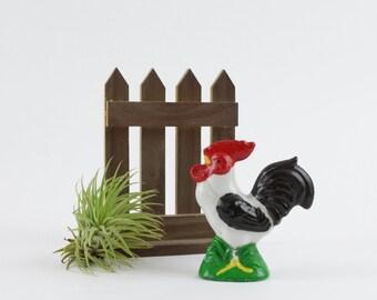 Jahrgang Keramik schwarz und weiß Hahn Figur - Retro-Hahn Küchendekoration