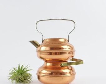 Vintage Kupfer Teekanne Wasserkocher Set mit Messingtülle und Griff - hergestellt von Spartan in den USA Küchendekoration