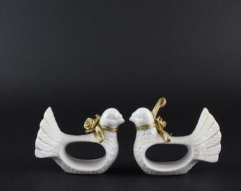 Vintage Porcelain Dove Napkin Rings - White Table Decoration - Wedding Table Accessory