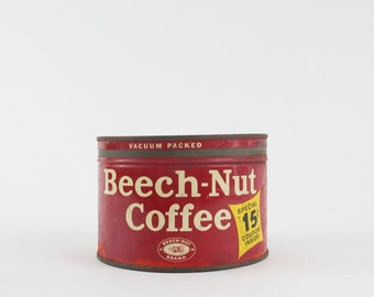 Vintage Beech-Nut Coffee Advertising Tin - Red Collectible Storage Tin Prop Styling Display