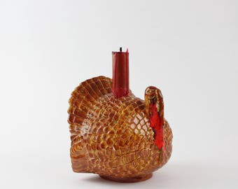 Vintage Ceramic Turkey Candlestick Holder Figurine - Thanksgiving Decoration Autumn Colors Figurines Festive Fall Turkey Decoration