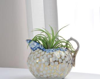 Vintage asiatischen Gold und Blau Blume Creamer Krug - Gold Blumen Tee-Service