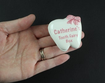 Vintage Ceramic Tooth Fairy Box Personalized Catherine - Tooth Shaped Trinket Box