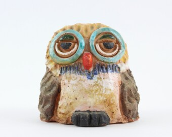 Vintage Enesco Owl Figurine - Colorful Clay Owl Sculpture '70s Kitschy Retro Decor