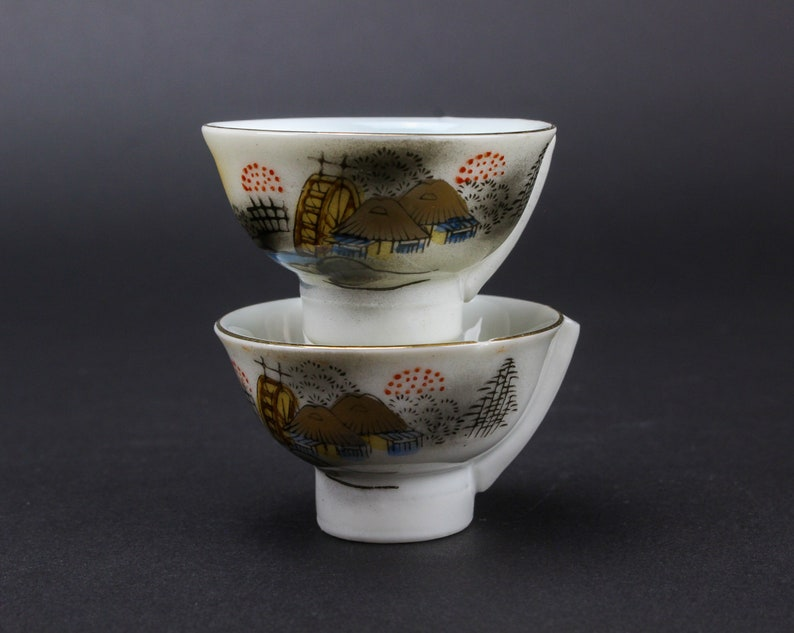 Vintage Porcelain Sake Cups Set of Two - Japanese Sake Wine Cups