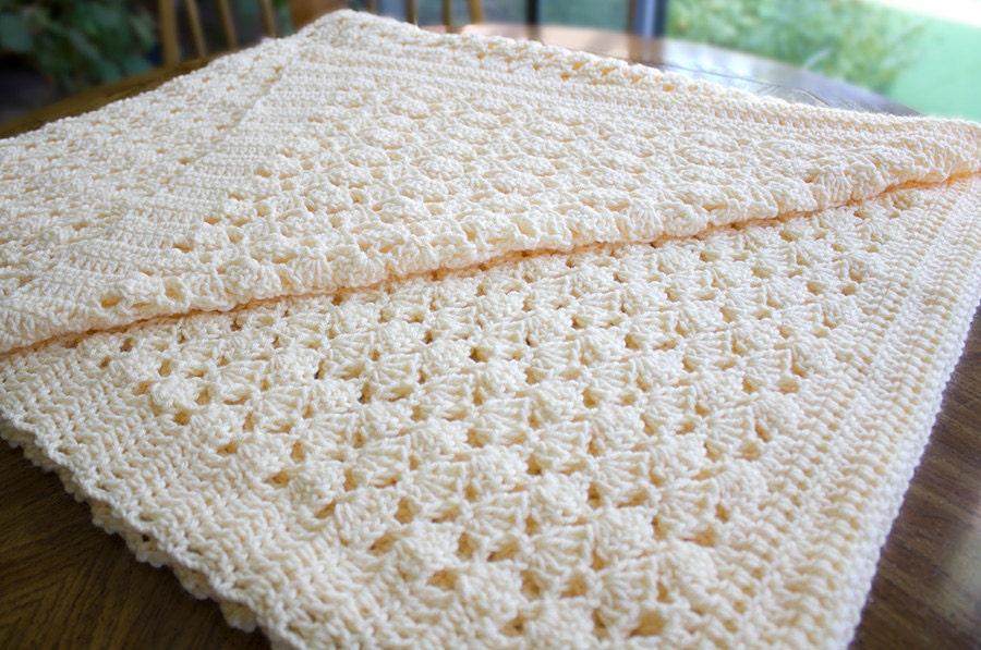 Ganchillo manta afgana tiro crema crema Beige Color Shell   Etsy