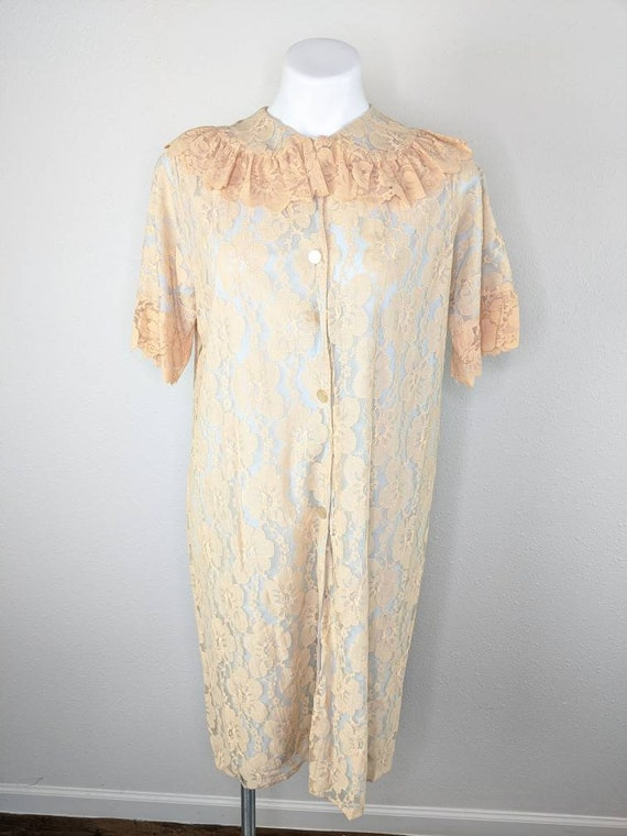 Vintage 50s Aristocraft lace house coat robe small