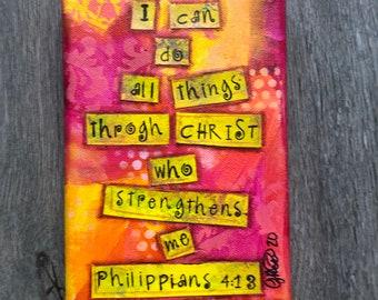 Philippians 4:13 Bible Verse Original Painting for sale