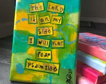 Psalm 118:6 Bible Verse Original Painting