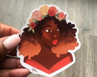 Natural Hair Vinyl Sticker -Girl with Flower Crown Spring Sticker Water Bottle Sticker