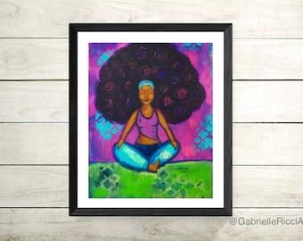 Yoga Afro Original Art Print 8.5x11 size