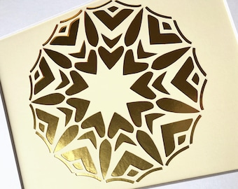 Rays of Love mandala  /  Bahai art / 9 pointed star / Bahai calligraphy / Baha'i Faith wall decor / 11x14 wall decor / cut paper art
