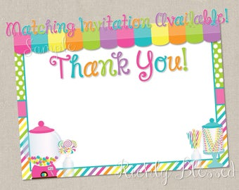 INSTANT DOWNLOAD Candy Birthday Thank You Card, Sweet Shoppe Thank You Note, Candyland Party, Sweet Shop Birthday Candy Shop Party Printable