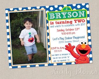 Elmo Inspired Invitation, Elmo Birthday Party, Blue Red Orange, Sesame Street Elmo Birthday, Printable DIY Elmo Invitation, Boy Elmo Party