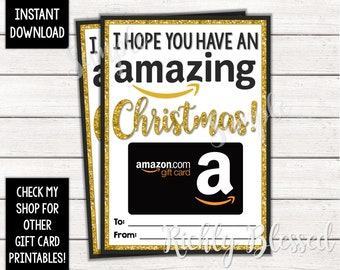 photo regarding Amazon Gift Card Printable identify Fast Obtain Amazon Reward Card Xmas Card Holder Present