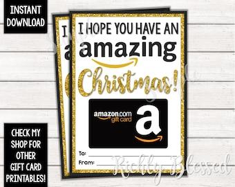 photo regarding Amazon Gift Card Printable identify Fast Obtain Amazon Reward Card Xmas Card Holder Present