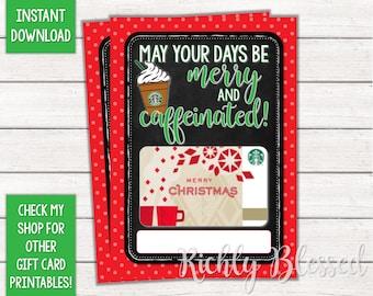 INSTANT DOWNLOAD Starbucks Gift Card Christmas Holder Printable Teacher Friend Coach DIY