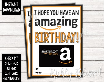 INSTANT DOWNLOAD Amazon Gift Card Birthday Holder Printable Teacher 5x7 DIY