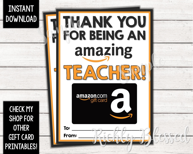 INSTANT DOWNLOAD Amazon Gift Card Teacher Appreciation ...