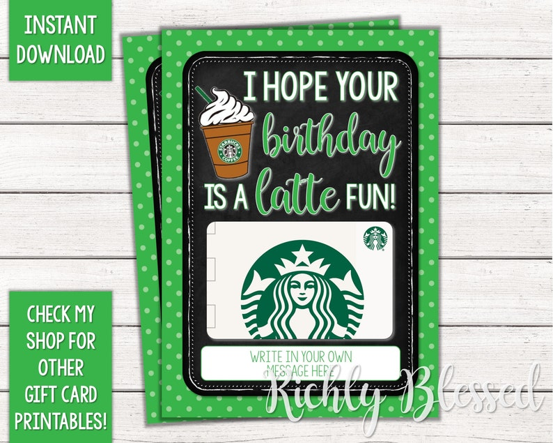 INSTANT DOWNLOAD Starbucks Gift Card Birthday Holder