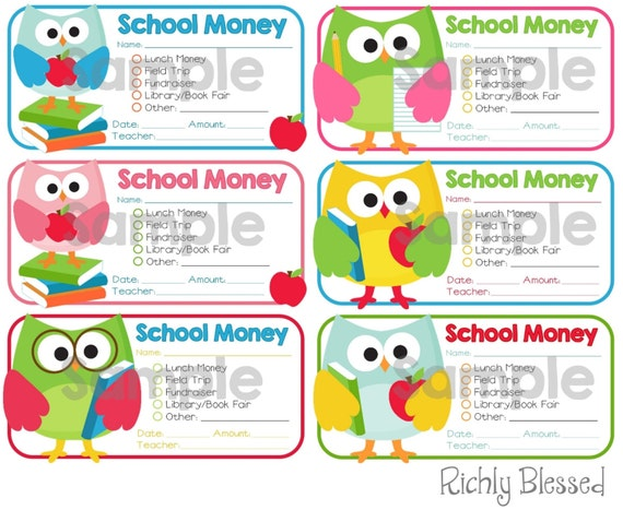 INSTANT DOWNLOAD School Money Printable Envelope Stickers Labels Teacher  Notes School Organization Digital File