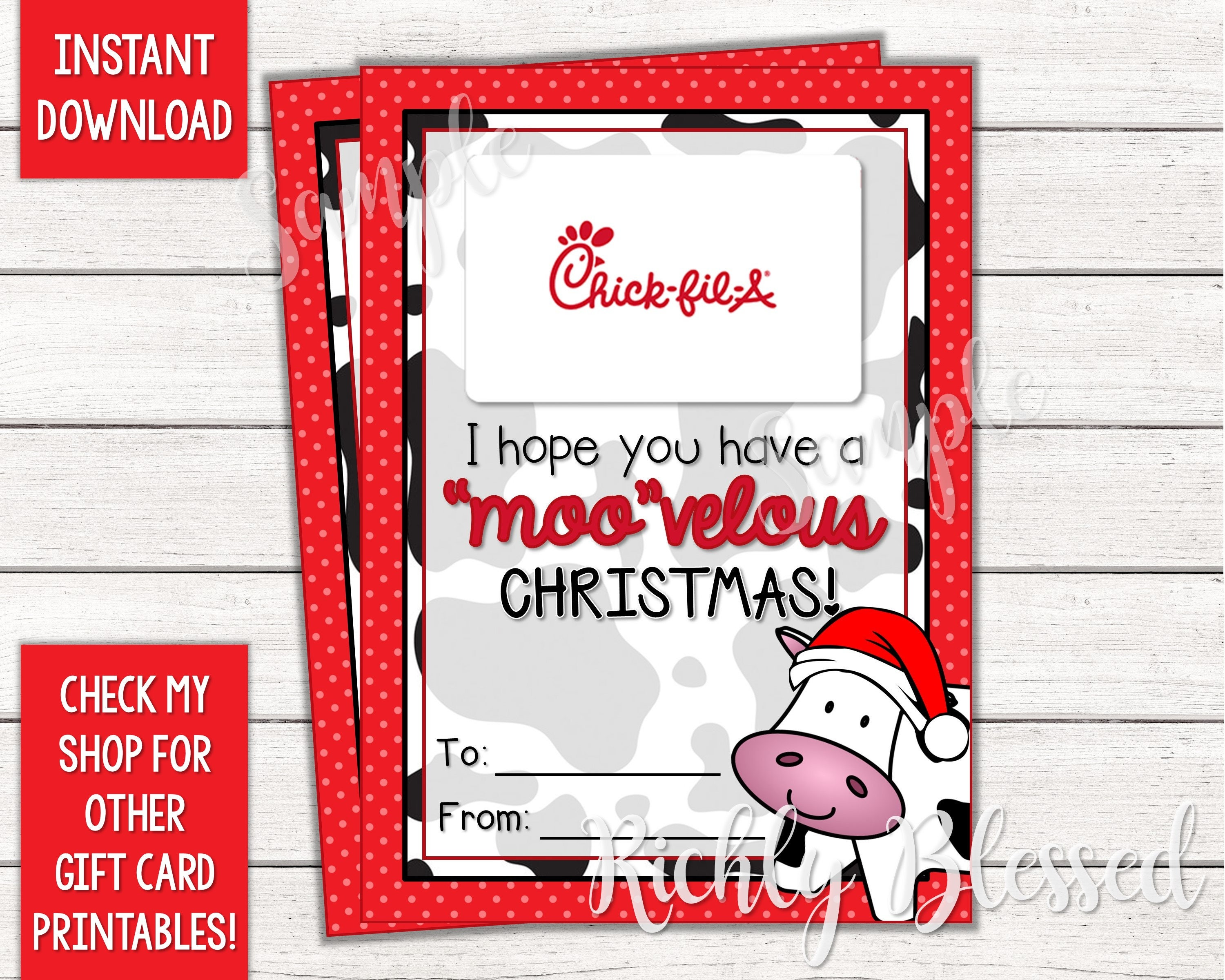INSTANT DOWNLOAD Chick-fil-A Gift Card Christmas Card Holder | Etsy