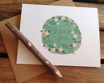 Thank You Card - Green and pink floral 'thank you' greeting card