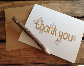 Thank You Card - Pink delicate floral