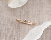 Tiny .03ct Diamond Solitaire Ring. 14K Gold