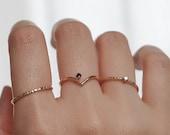 Hera, Black Diamond Chevron Ring. 14K Gold
