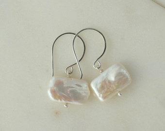 Sterling silver earrings, white or pink freshwater pearl earrings, handmade jewelry, dangle earrings, bridesmaid earrings, wedding jewellery