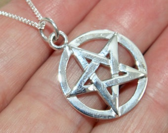 ALL 925 Sterling Silver Small Pentagram Pentacle Pendant Necklace