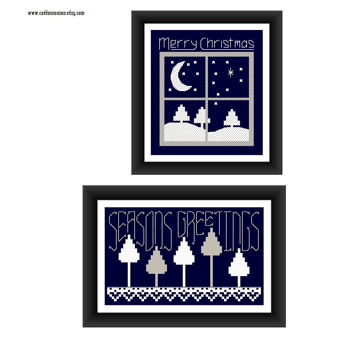 2 X Christmas Cross Stitch Patterns Christmas Card
