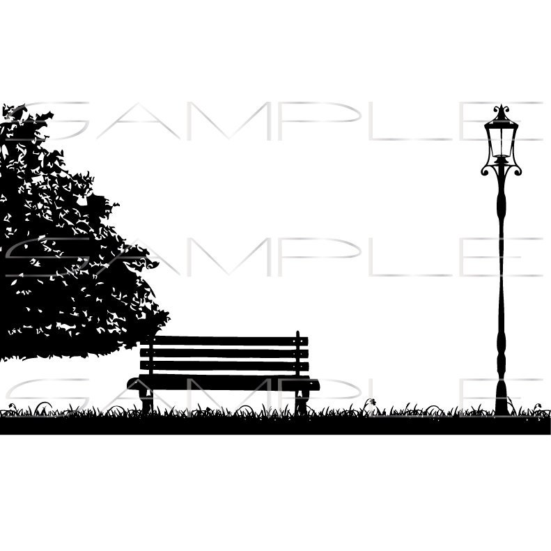 Silhouette Of Tree Park Bench Grass And Street Lamp Etsy