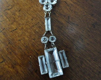 Art Deco Sterling Cut Crystal Drop Necklace Antique jewelry