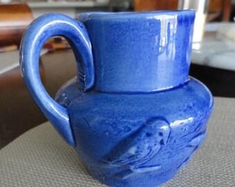 D392)  Vintage Blue Porcelain Creamer milk pitcher with animals