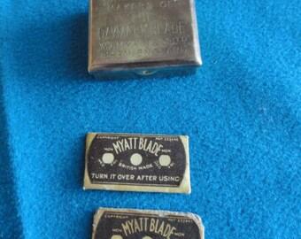 Mini Razor Kit Vintage Myatt & Co. Brass Travel Miniature Razor set