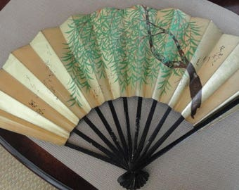 Vintage Japanese  Airline  JAL Hand Fan bamboo and paper