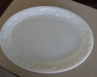 D260)  Antique Victorian Clambroth Glass Platter  milk glass