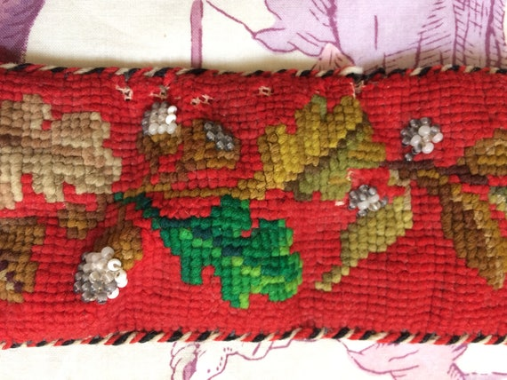 Antique needlepoint folk embroidered tyrolian belt