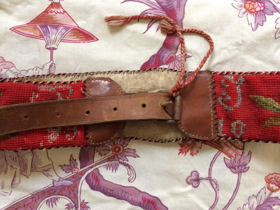 Antique needlepoint folk embroidered tyrolian belt - image 4