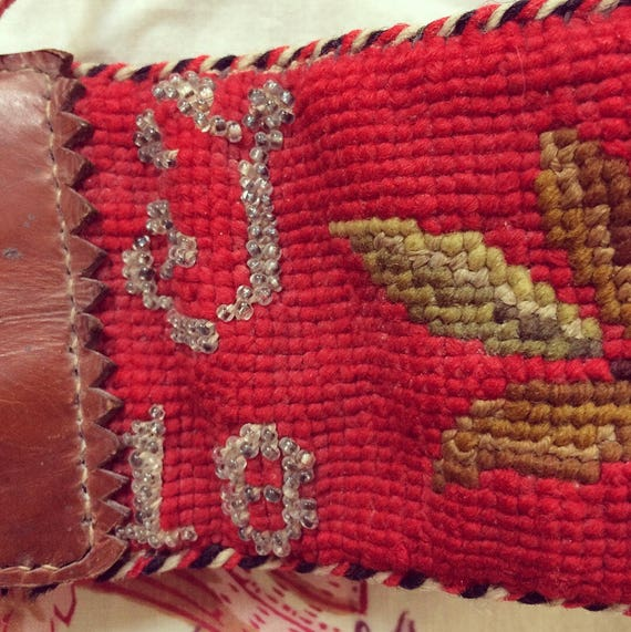Antique needlepoint folk embroidered tyrolian belt - image 3