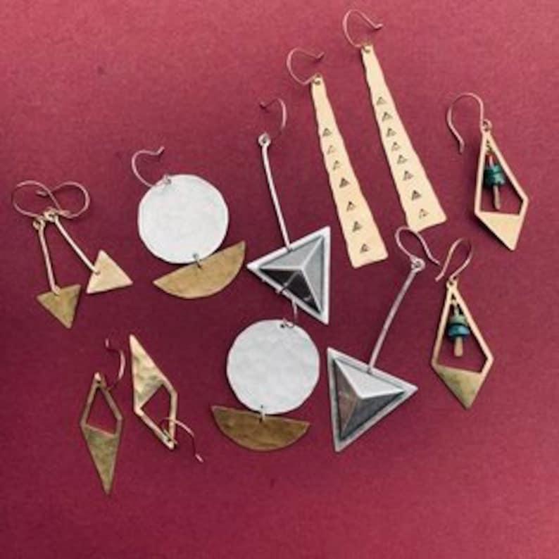minimalist boho textured cute jewelry unique brass metal simple small tarnish resistant Romie Earrings lightweight diamond