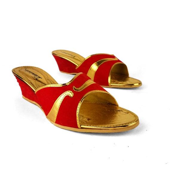 1960s Gold Lam\u00e9 Curled Toe Slippers