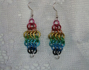Awesome Rainbow Chainmaille Earrings