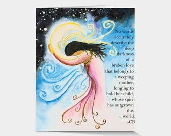 Card Print: Olivia - Watercolor Print, Grieving Mother, Child Loss, Infant Loss, Miscarriage, Mother of an Angel, In Memory Of, Moon, Baby