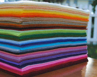 """9"""" x 12"""" Wool Blend, Felt Sheets, 12 pieces, Your Choice of Colors"""