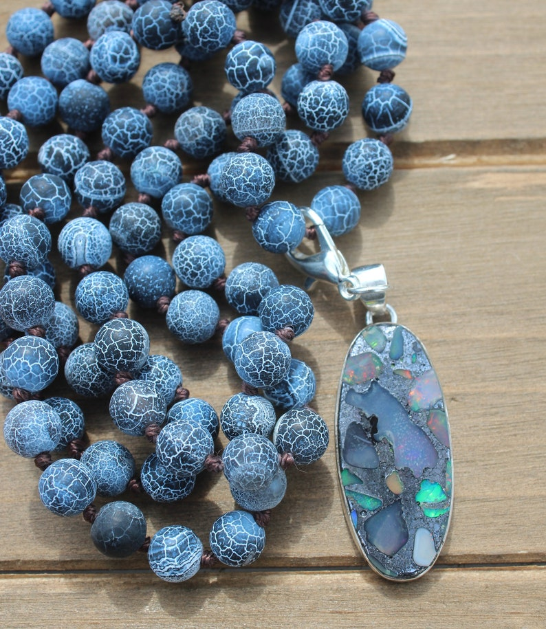 Long Beaded Necklace with Opal Pendant Boho Glam Jewelry by Inara