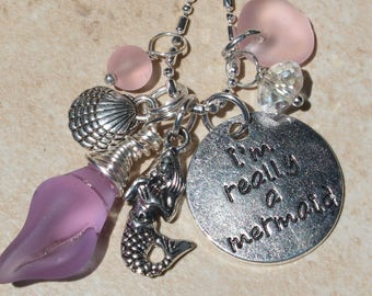 Lavender & Pink I'm really a Mermaid charm necklace, wire wrapped sea glass sea shell, mermaid,crystal, gifts for her, inarajewels